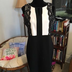 Black and white sheath style dress